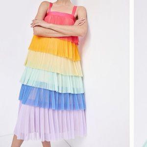 Anthropologie rainbow tiered tulle midi dress